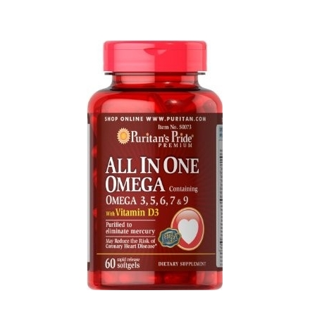 Puritan's Pride All In One Omega 3,5,6,7,9 & Vit. D3 60 Softgels