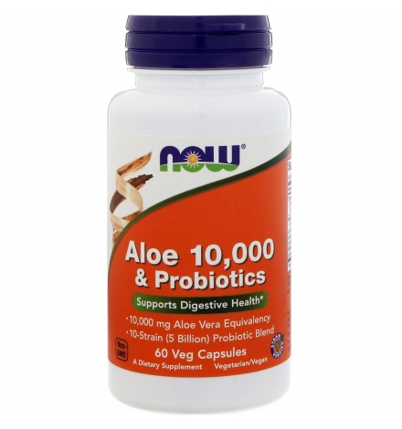 Now Foods Aloe 10000 & Probiotics 60 Veg Capsules
