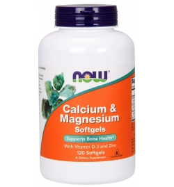 Now Foods Calcium & Magnesium With Vit D3 & Zinc 120 Softgels