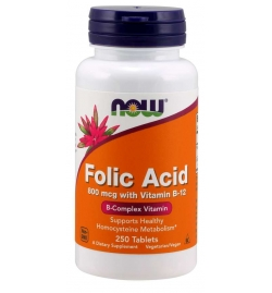Now Foods Folic Acid with Vitamin B12, 800mcg 250 Tablets