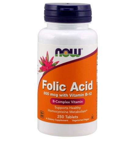 Now Foods Folic Acid with Vitamin B12, 800mcg 250 Tablets