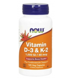 Now Foods Vitamin D-3 & K2 120 Veg Caps