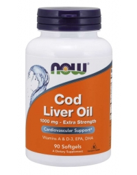 Now Foods Cod Liver Oil, Extra Strength 1000 mg 90 Softgels